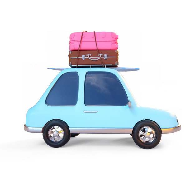 3D立体风格卡通蓝色小汽车和行李箱旅行插画908590png图片素材