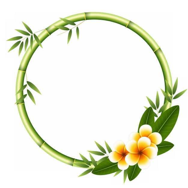 绿色竹竿竹叶竹子竹笋组成的圆形边框4780165png图片免抠素材