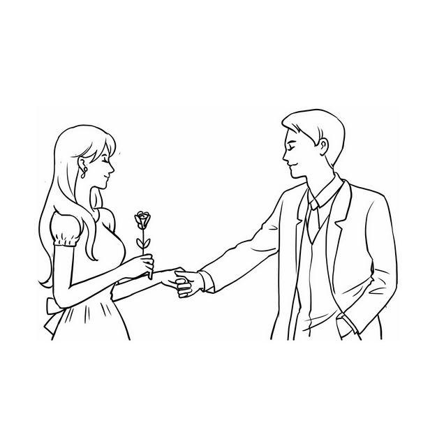 手牵手送玫瑰花的情侣情人节手绘线条素描插画621266免抠图片素材 人物素材-第1张