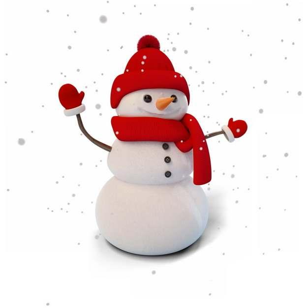 冬天下雪天里戴红帽子红围巾的卡通雪人807421png图片素材