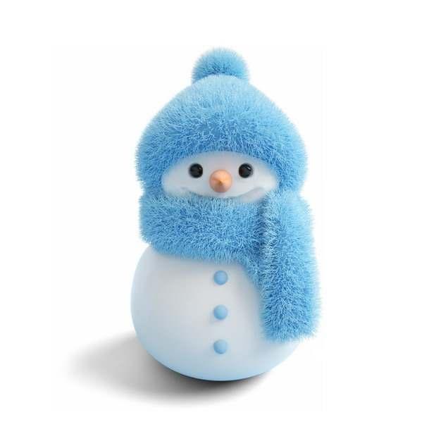 超可爱蓝色帽子和围巾的卡通雪人136239png图片素材