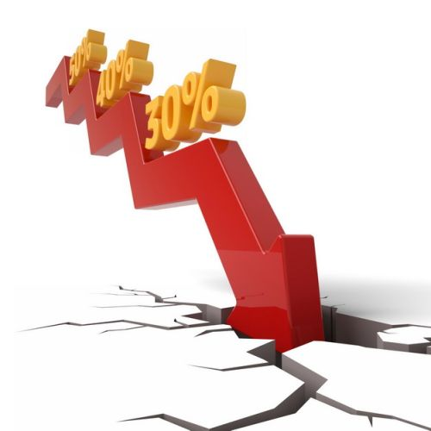 3D立体风格下降的红色箭头砸裂地面象征了经济股市危机500547png图片素材