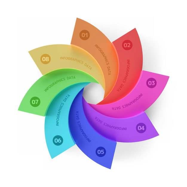 创意彩色花朵形状PPT信息图表707582png图片免抠素材