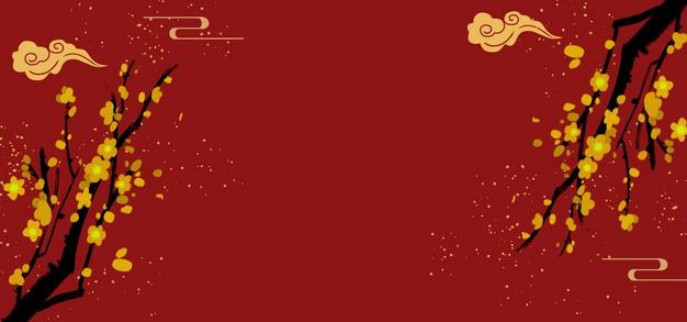 金色梅花和祥云图案新年春节背景644713PSD图片免抠素材 背景-第1张