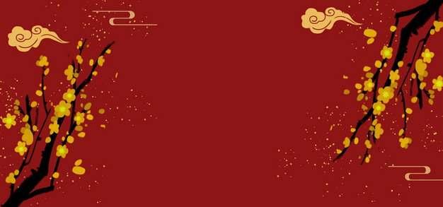金色梅花和祥云图案新年春节背景644713PSD图片免抠素材