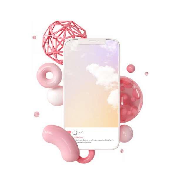 3D立体手机和各种立方体装饰438768png图片素材
