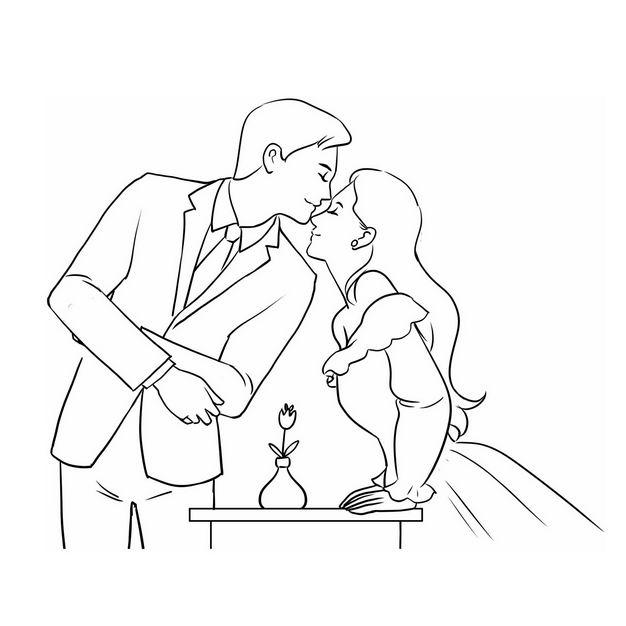 亲吻鼻子的情侣情人节手绘线条素描插画116289免抠图片素材 人物素材-第1张