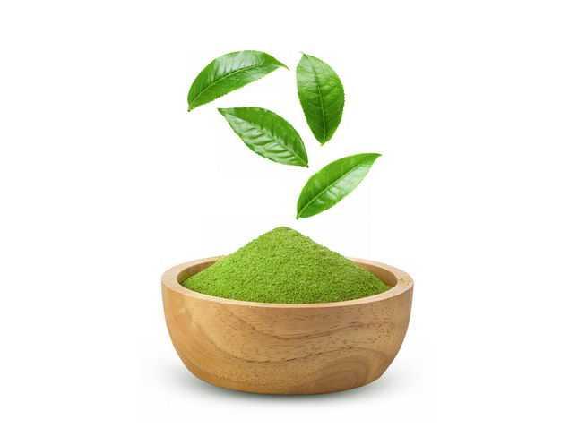 绿色的茶叶和木头碗中的抹茶140844PSD免抠图片素材