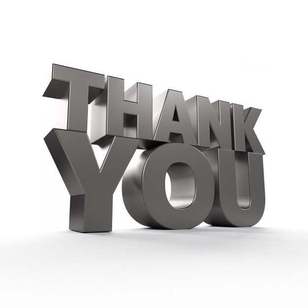 银灰色金属质感3D立体Thank you谢谢你英文字体831520png图片免抠素材