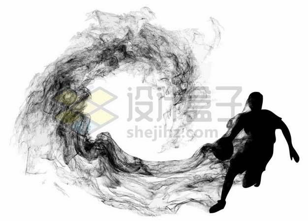 抽象创意篮球运动员打篮球剪影烟雾效果345436图片素材