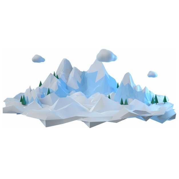 3D立体低多边形风格悬空岛上的淡蓝色雪山风景628318png图片免抠素材