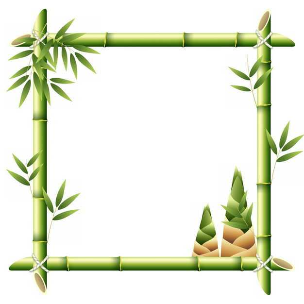 绿色竹竿竹叶竹子竹笋组成的边框方框1580612png图片免抠素材