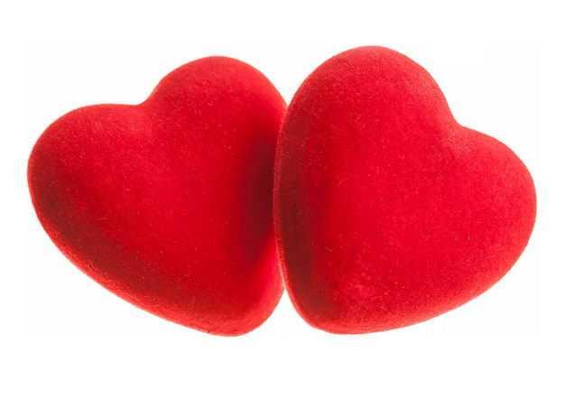 两颗绒面红心3D立体心形图案998954免抠图片素材