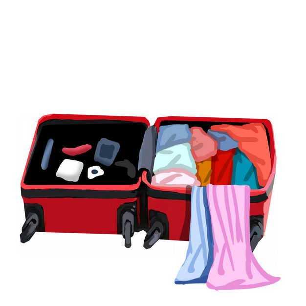敞开的杂乱行李箱准备打包收拾物品898058免抠图片素材