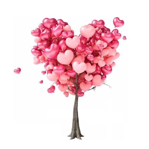 创意大树上挂满了红色心形气球情人节装饰928902png图片免抠素材
