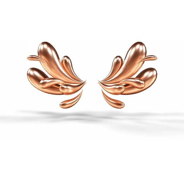 创意3D立体金色抽象对称液滴装饰图案906006png图片素材