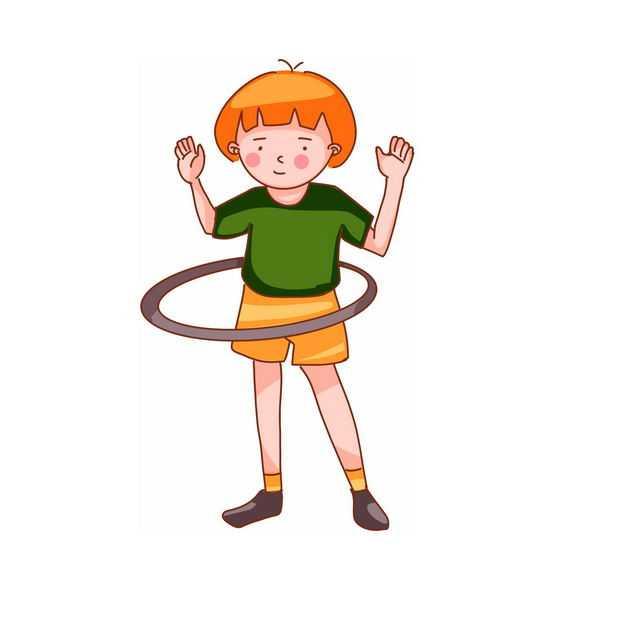玩呼啦圈的卡通女孩930275png免抠图片素材