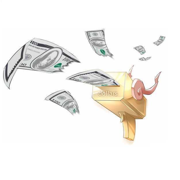 吐出美元钞票的卡通喷钱枪640462免抠图片素材