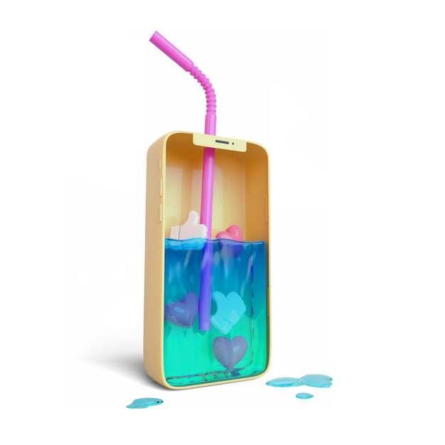 创意手机形状的杯子中有蓝色的液体和吸管610625png图片素材