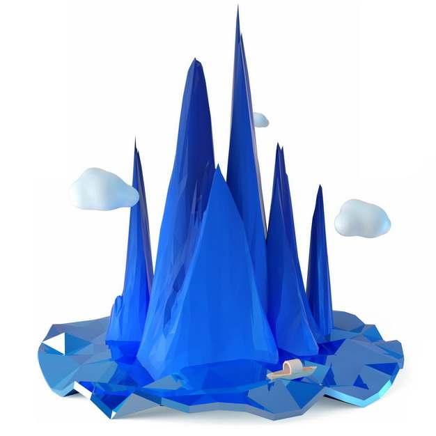 3D立体低多边形风格悬空岛上的蓝色高山风景388233png图片免抠素材
