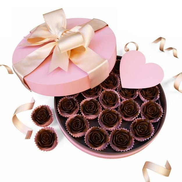 打开的粉色豪华礼盒和里面的巧克力花朵107578png图片素材