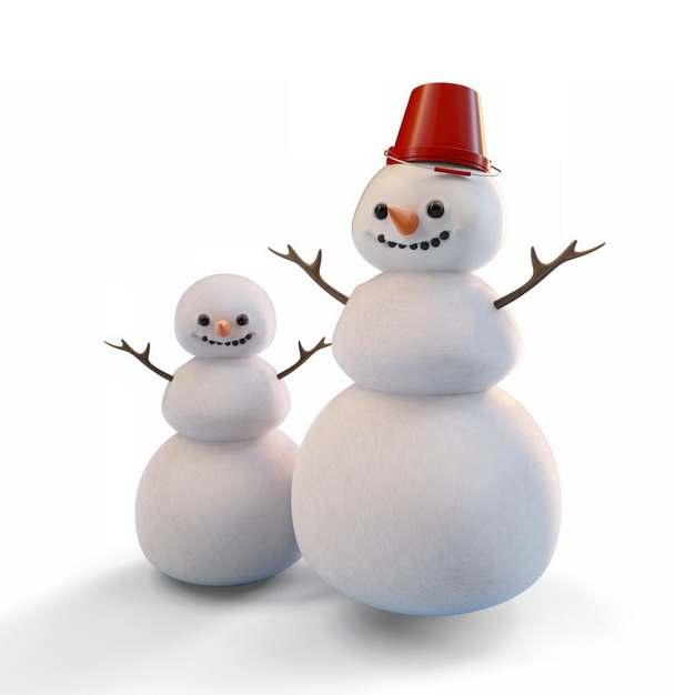 两个可爱的卡通雪人124455png图片素材
