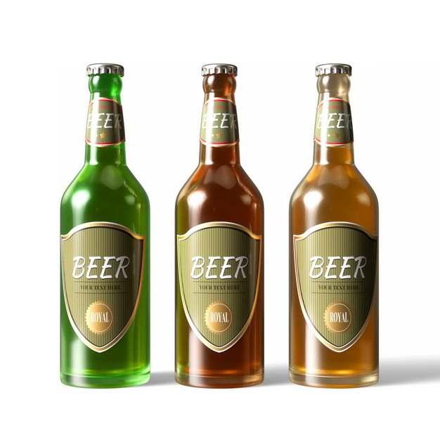 三瓶摆放整齐的啤酒瓶692163png图片素材