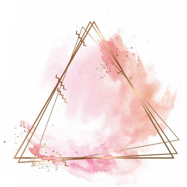 金色三角形边框和粉色墨水渍装饰271596免抠图片素材