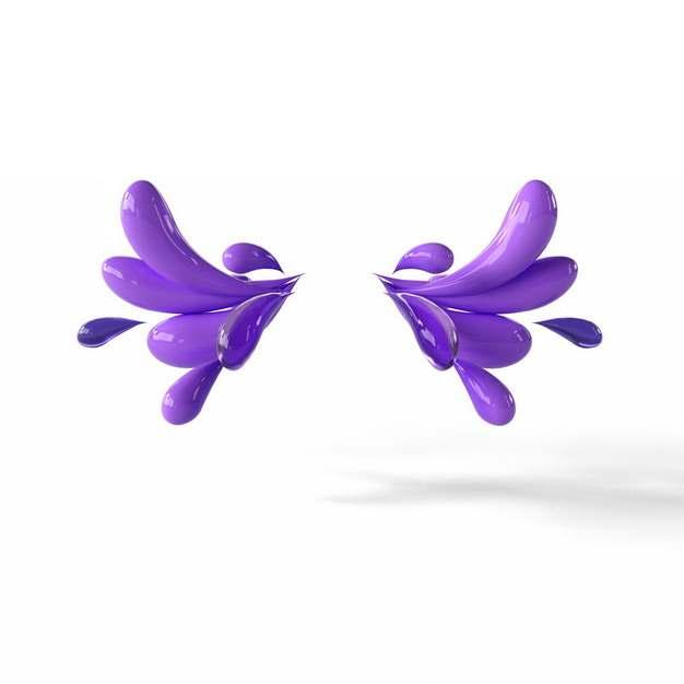 创意3D立体紫色抽象对称液滴装饰图案223857png图片素材