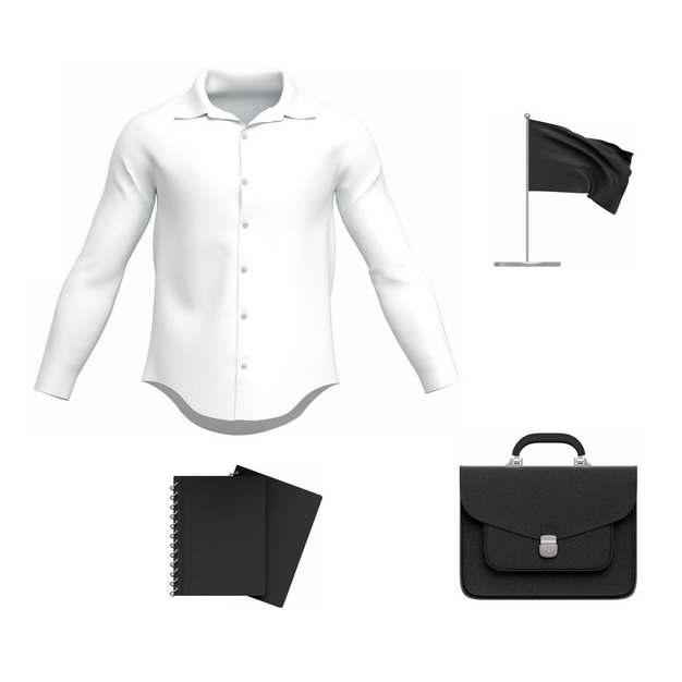 白色男士衬衫黑色记事本和公文包418070png图片素材
