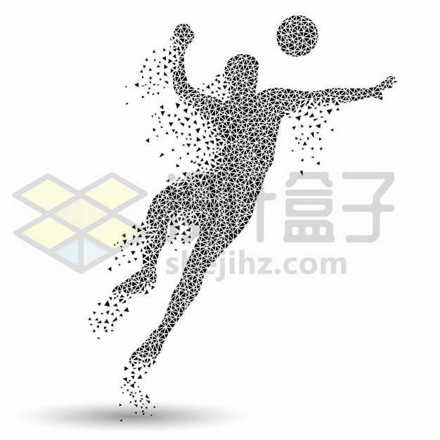 创意黑色三角形组成的足球运动员踢足球709999图片素材