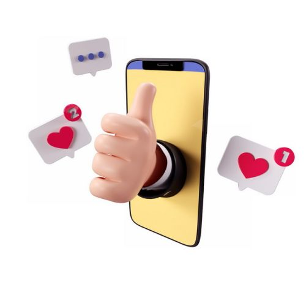 3D立体手机中伸出的竖起大拇指的手和点赞图标581646png图片素材
