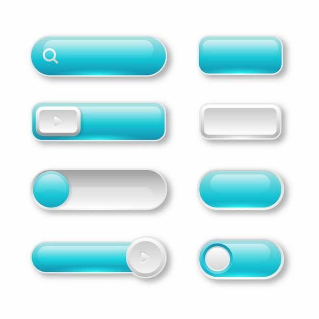 八款蓝色水晶按钮玻璃按钮156484png图片素材