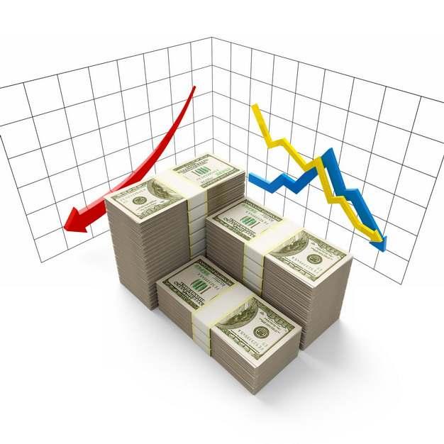 3D立体风格摆放整齐的美元钞票和红色黄色蓝色箭头象征了经济股市危机933831png图片素材