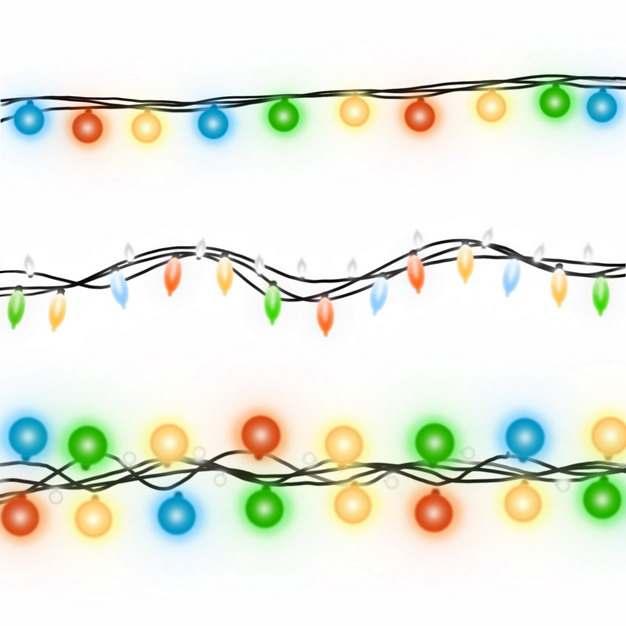 三款发光蓝光红光黄光绿色的彩灯装饰634567PSD图片免抠素材