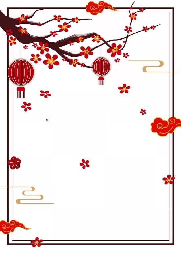 中国风梅花枝红灯笼祥云边框644886PSD图片免抠素材