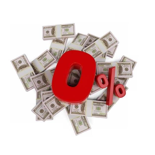 一堆美元钞票和红色0%百分比金融经济916845png图片素材