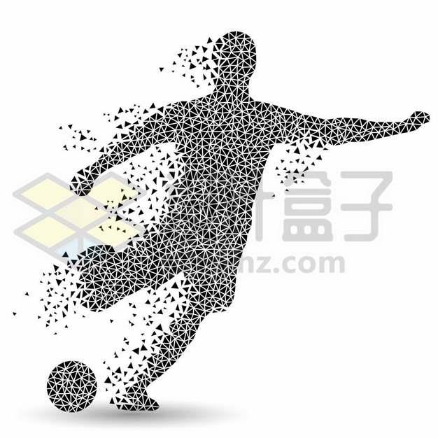 创意黑色三角形组成的足球运动员踢足球115515图片素材