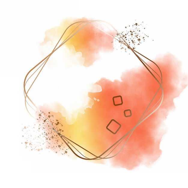 金色四边形边框和黄色橙色墨水渍装饰866064免抠图片素材