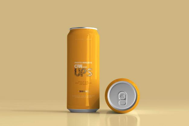 橙色500毫升易拉罐饮料包装显示样机552311PSD免抠图片素材 样机-第1张