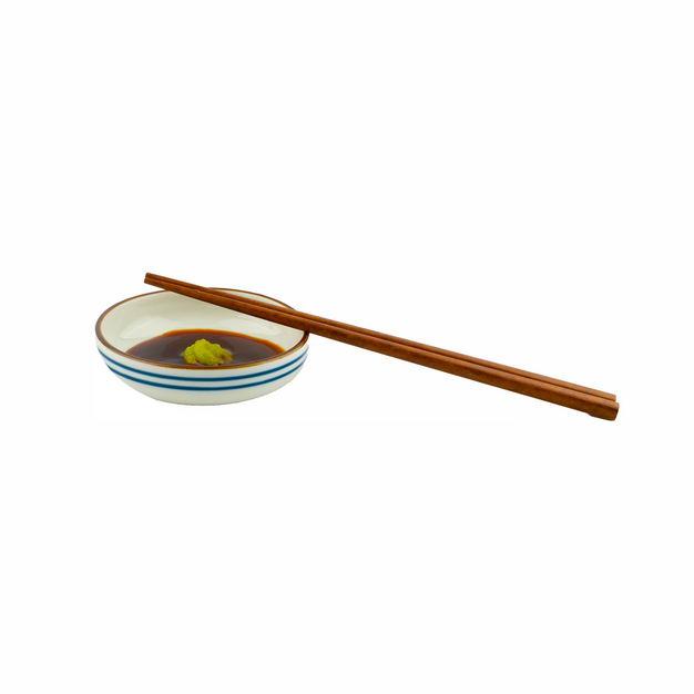 一小碗芥末酱油调味品和筷子579317png图片免抠素材