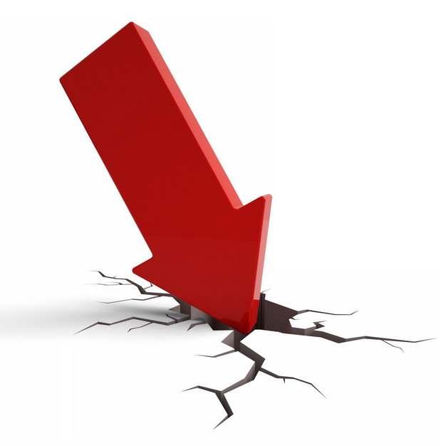 3D立体风格红色箭头裂开的地面象征了经济股市危机374365png图片素材