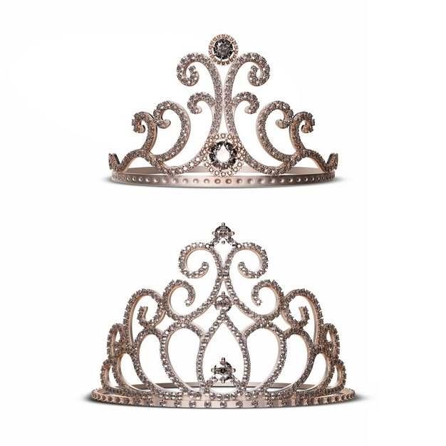 两顶镶着钻石宝石的王后皇冠303666png图片素材