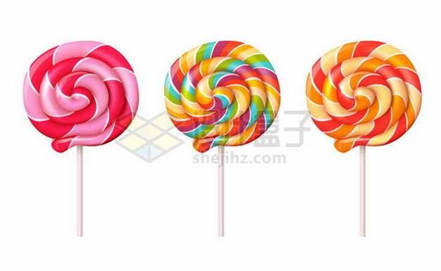 三种颜色的彩色旋转棒棒糖650640png矢量图片素材
