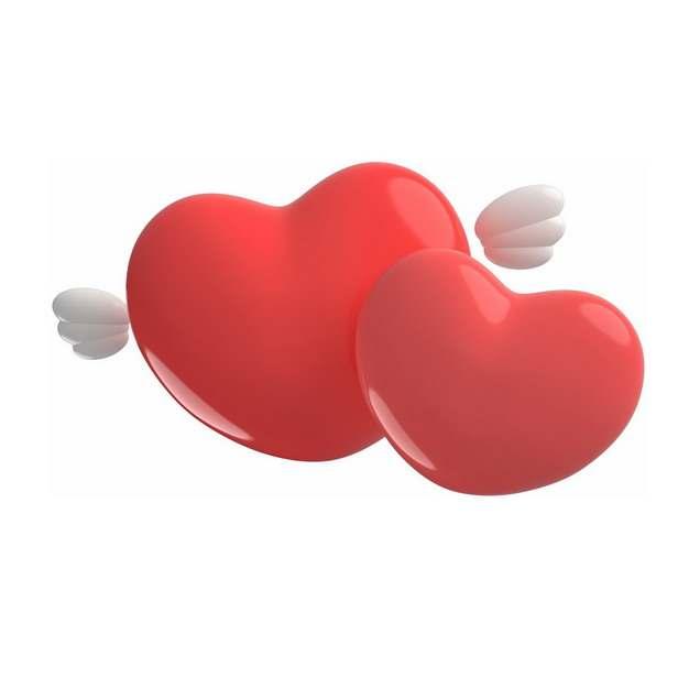 两颗靠在一起的3D立体风格红心象征了爱情828545png图片素材