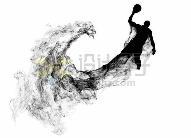 抽象创意篮球运动员打篮球剪影烟雾效果108314图片素材