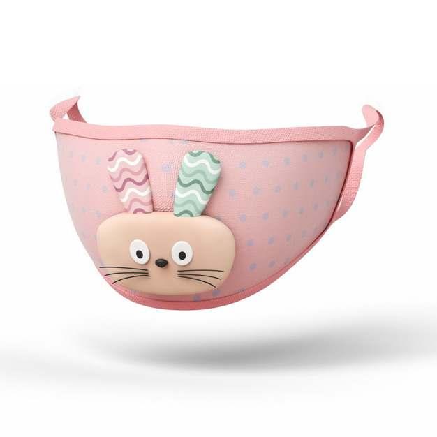3D立体可爱的小兔子粉色口罩401385png图片素材