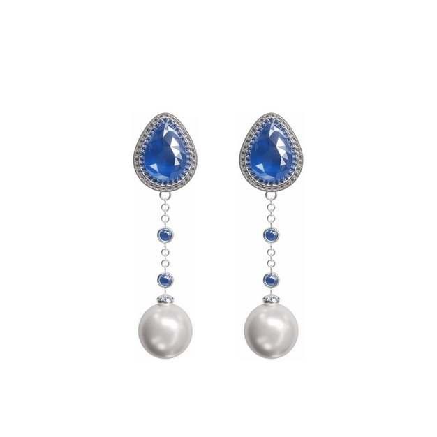 两个蓝宝石珍珠耳环首饰753373png图片免抠素材