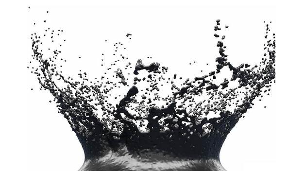 黑色石油飞溅的黑色水花效果680673png图片免抠素材
