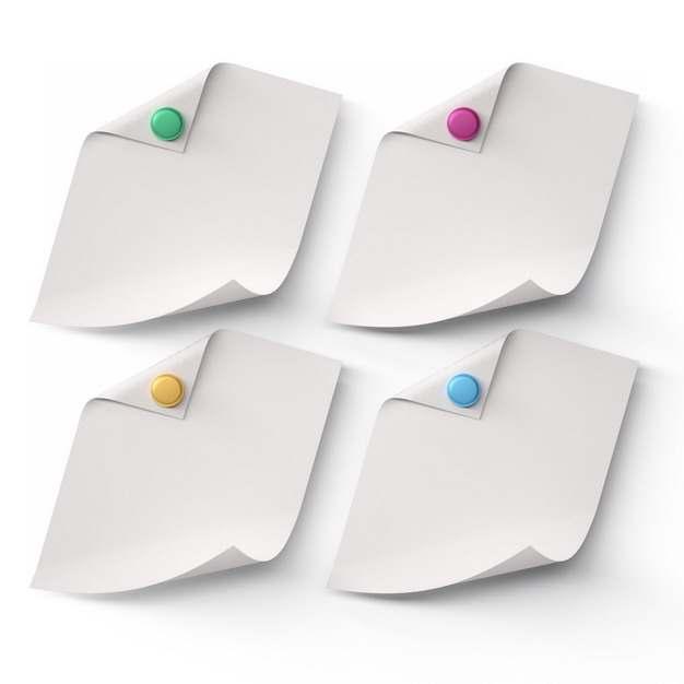 彩色图钉和卷曲的白纸便签纸172770png图片素材